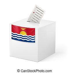 Ballot box with voting paper. Kiribati