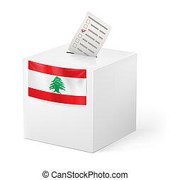Ballot box with voting paper. Lebanon