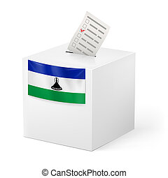 Ballot box with voting paper. Lesotho