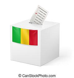 Ballot box with voting paper. Mali - Election in Mali:...