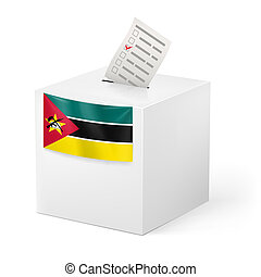 Ballot box with voting paper. Mozambique
