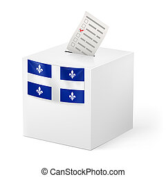 Ballot box with voting paper. Quebec - Election in Quebec:...
