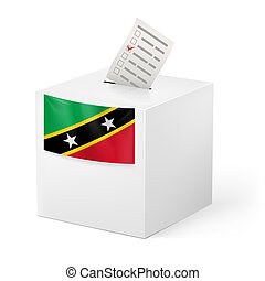 Ballot box with voting paper. Saint Kitts and Nevis -...