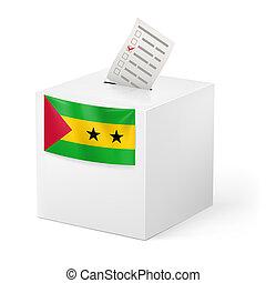 Ballot box with voting paper. Sao Tome and Principe -...