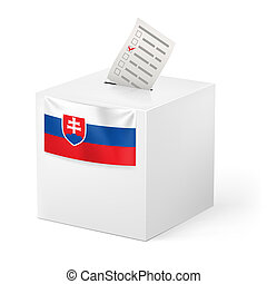 Ballot box with voting paper. Slovakia - Election in...