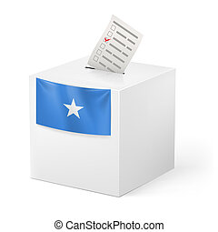 Election in Somalia: ballot box with voting paper on white background