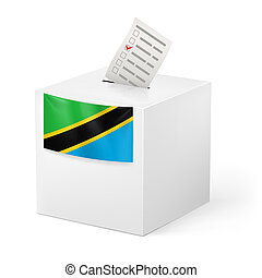 Ballot box with voting paper. Tanzania - Election in...