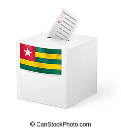 Ballot box with voting paper. Togo - Election in Togo:...