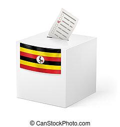 Ballot box with voting paper. Uganda - Election in Uganda:...