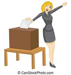 An image of a ballot box woman.