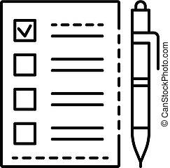Ballot checklist icon, outline style