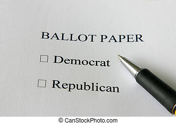 Ballot paper for USA elections - vote democrat or republican