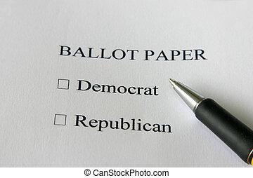 Ballot paper for USA elections - vote democrat or republican