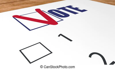 Ballot voting in elections and blue checkbox vote - A ballot...