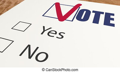 Ballot voting with two choices - vote favor ot vote against...