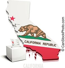Ballotbox Map California - detailed illustration of a...
