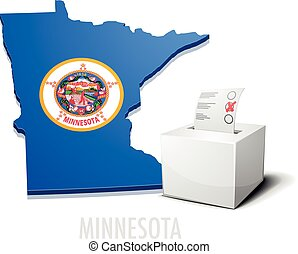 detailed illustration of a ballotbox in front of a map of Minnesota, eps10 vector