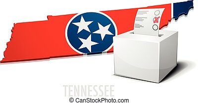 detailed illustration of a ballotbox in front of a map of Tennessee, eps10 vector