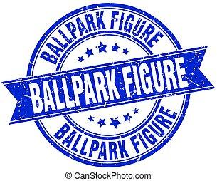 ballpark figure round grunge ribbon stamp