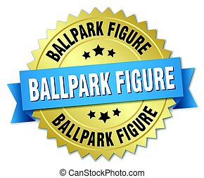 ballpark figure round isolated gold badge