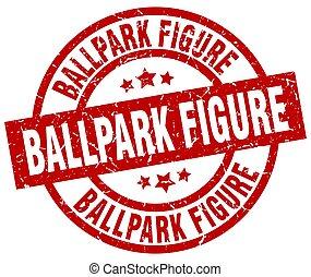 ballpark figure round red grunge stamp