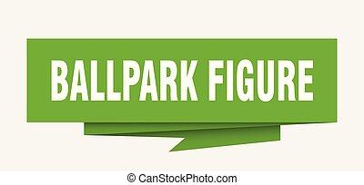 ballpark figure sign. ballpark figure paper origami speech...