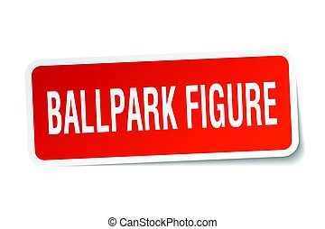ballpark figure square sticker on white