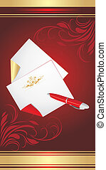 Ballpen and pure pages on the decorative background. Vector...