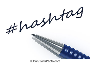 ballpen hashtag - An image of a pen with the message hashtag