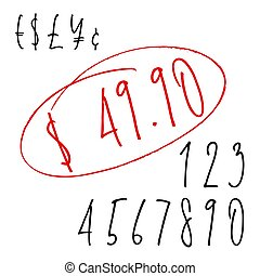 Ballpen lettering numbers and currency symbols