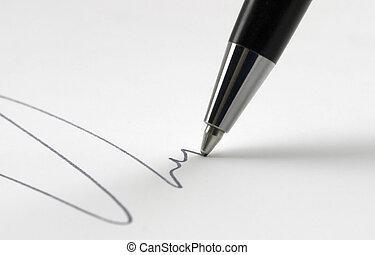 ballpen tip closeup - tip of a ballpen while drawing a line...