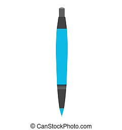 ballpoint, isolato, illustrazione, penna, vettore, rollerball, fondo, icon., bianco