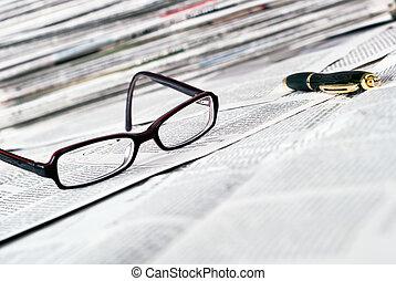 ballpoint, lettura, penna, occhiali