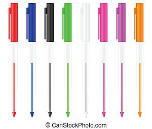 Eight ballpoints on a white background. Vector illustration.