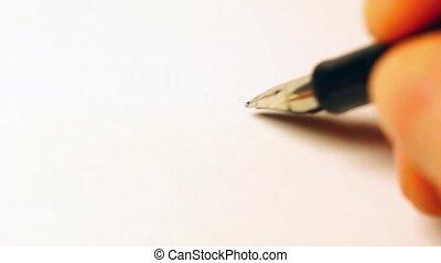 Ballpoint pen makes tick on paper