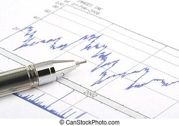 Ballpoint Pen on Stock Chart - Focus on the tip of the...