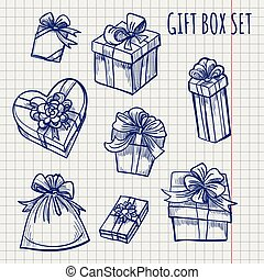 Ballpoint pen sketch of gift boxes