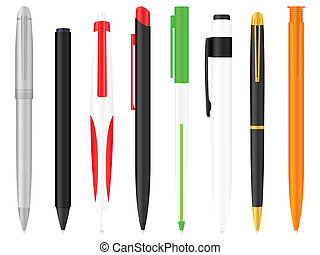 ballpoint pens set - Ballpoints set on a white background....