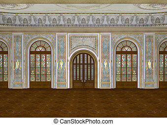 Ballroom - 3D digital render of a beautiful retro ballroom...
