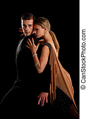 Ballroom Dancer Pair on Black Background