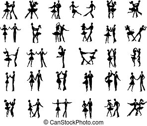 ballroom dancers - Collection of vector ballroom pair...