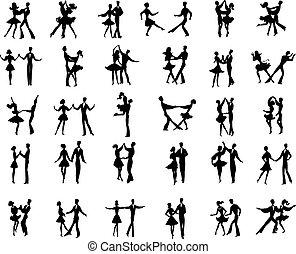 ballroom dancers - Collection of vector ballroom pair...