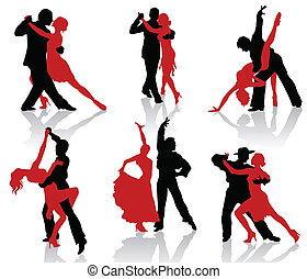 Silhouettes of the pairs dancing ballroom dances. Tango.