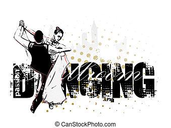 Ballroom dancing - Classic dancing pair silhouette