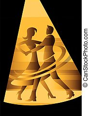 Ballroom, Dancing couple in yellow spot light.
