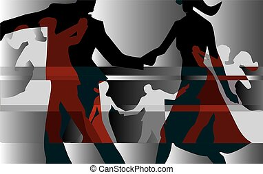Ballroom dancing couples - Colorful background with...