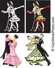 ballroom dancing - dancers - dancing silhouettes, latino...