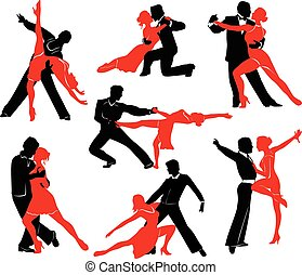 Ballroom Dancing - Silhouettes of the pairs dancing ballroom...