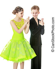 Ballroom dancing - Young people in costumes dancing-Isolated...