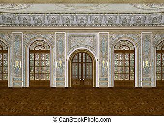 Ballroom - 3D digital render of a beautiful retro ballroom...